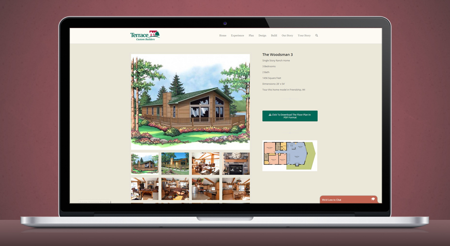 Web design for terrace custom builders by pop dot in for Terrace homepage