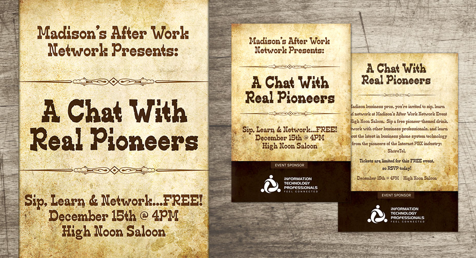 After Work Network - Graphic Design - High Noon Saloon Invitation