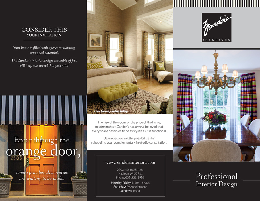 Brochure Advertising For Zanders Interiors By Pop Dot O Marketing