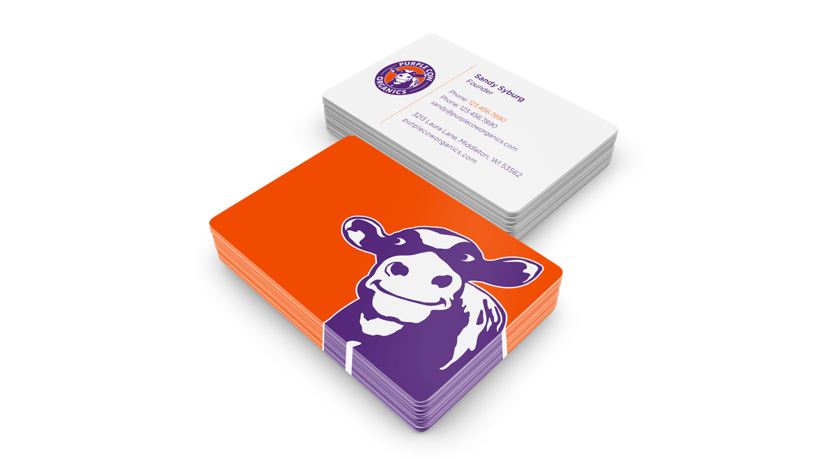 Brand identity business cards by pop dot marketing agency in featured client work purple cow organics colourmoves