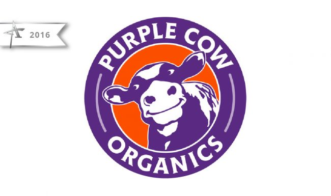 Logo Design Purple Cow Organics - 2016 American Advertising Award Winner