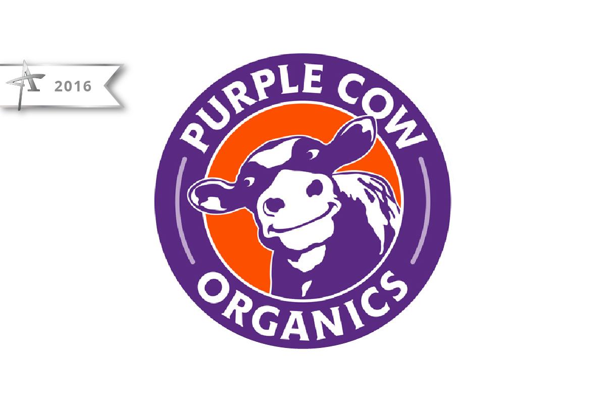 Logo Design Purple Cow Organics - 2016 American Advertising Award Winner