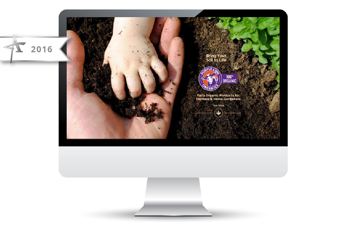 Website Design Purple Cow Organics - 2016 American Advertising Award Winner