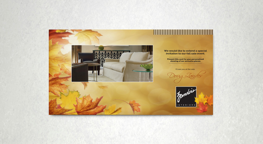 Zander's Interiors - Fall Sale Invitation 1