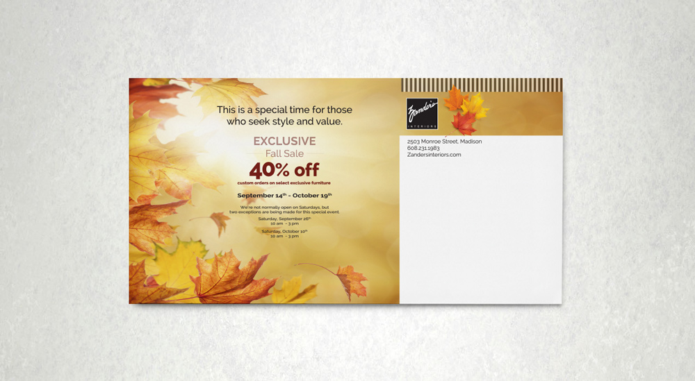 Zander's Interiors - Fall Sale Invitation 2