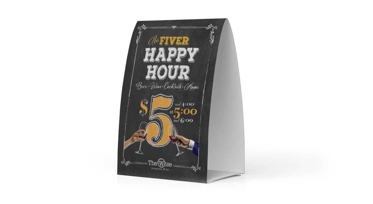 Table Signage By PopDot Marketing Agency In Madison WI The Wise - Bar table tents