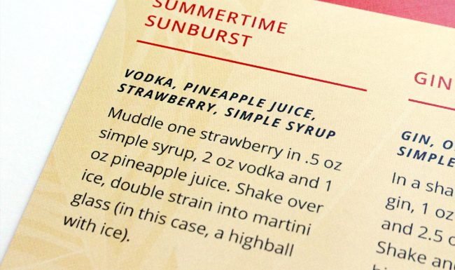 Graphic Design Summertime Soirée Recipe Card Detail