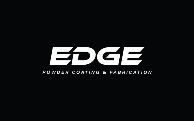 EDGE Powder Coating & Fabrication Logo White on Black