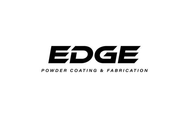 EDGE Powder Coating & Fabrication Logo Design Black and White
