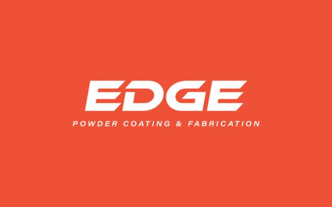 EDGE Powder Coating & Fabrication Logo Design Reversed